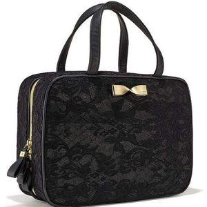 Black lace Victoria's Secret makeup bag